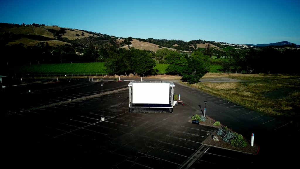 drive-in movie screen at the luther burbank center for the arts parking lot in santa rosa ca